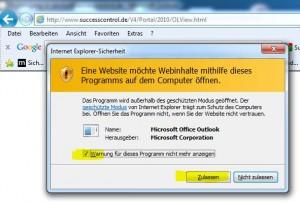 Outlook Anzeige aktivieren