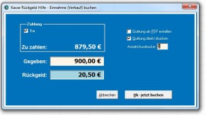 Bild: Kassenbuch mit Excel Ausgabe Zahlung verbuchen