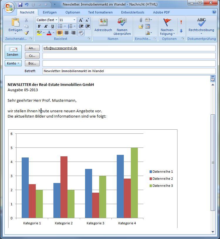 Serien E-Mail Outlook Vorlage mit Chart