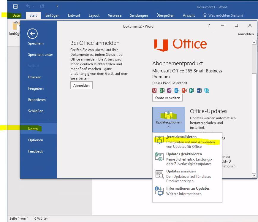 Office 2016 aktualisieren