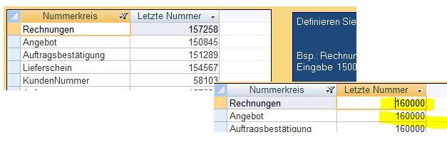 Rechnungsnummern