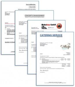 Rechnungs Formulare können im Rechnungsprogramm individuell gestaltet werden
