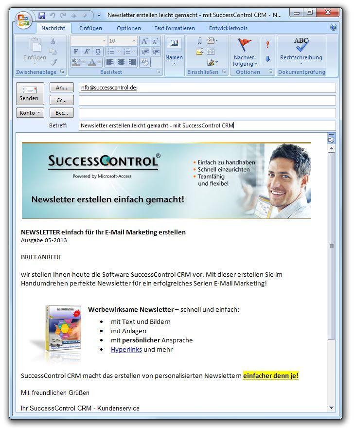 Outlook Newsletter erstellen, mit Bildern, Grafiken und persönlicher ...