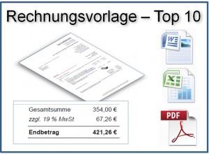 Rechnungsvorlage - TOP 10 der Downloads