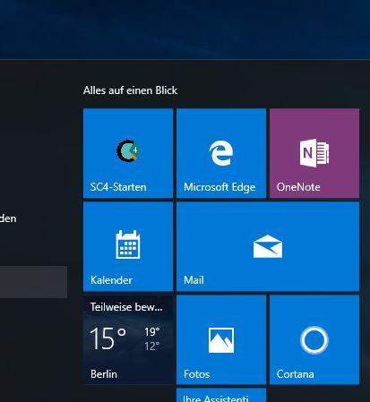 SuccessControl im neuen Startmenü von Windows 10