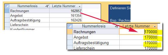 Hier im Beispiel wurde die Rechnungsnummer auf 170000 gesetzt. Wenn Sie jetzt in 2017 die erste Rechnung schreiben, erhält diese die Rechnungsnummer 170001.