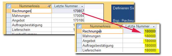 Nummernkreise im Rechnungsprogramm