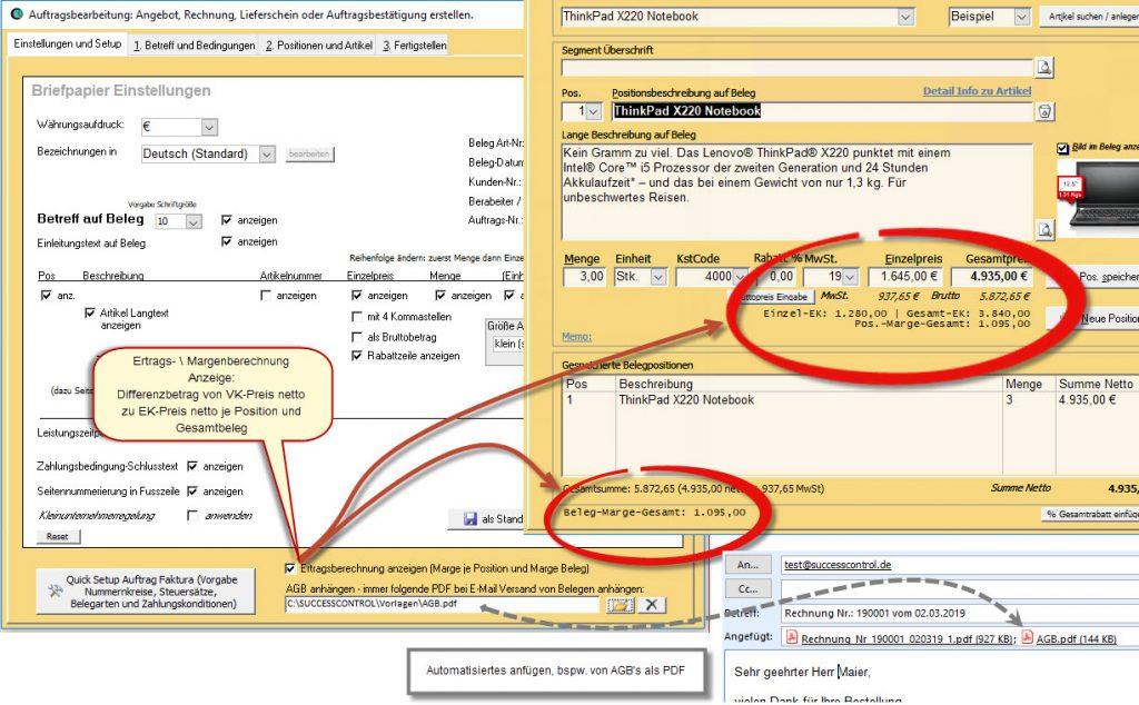 Ertragsberechnung im Rechnungsprogramm