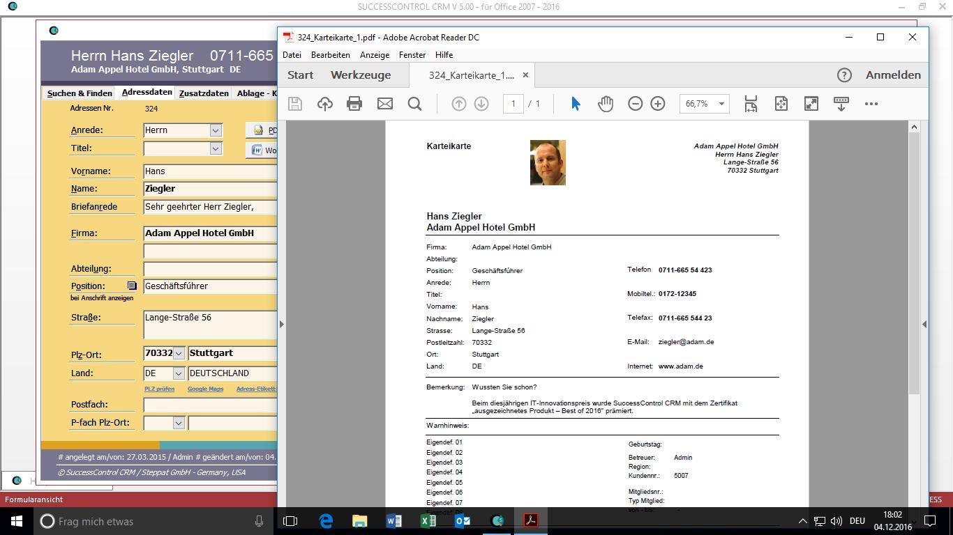 Kundenverwaltung Direkt In Microsoft Office 2007 2019 Office 365 Successcontrol Rechnungsprogramm Mit Crm