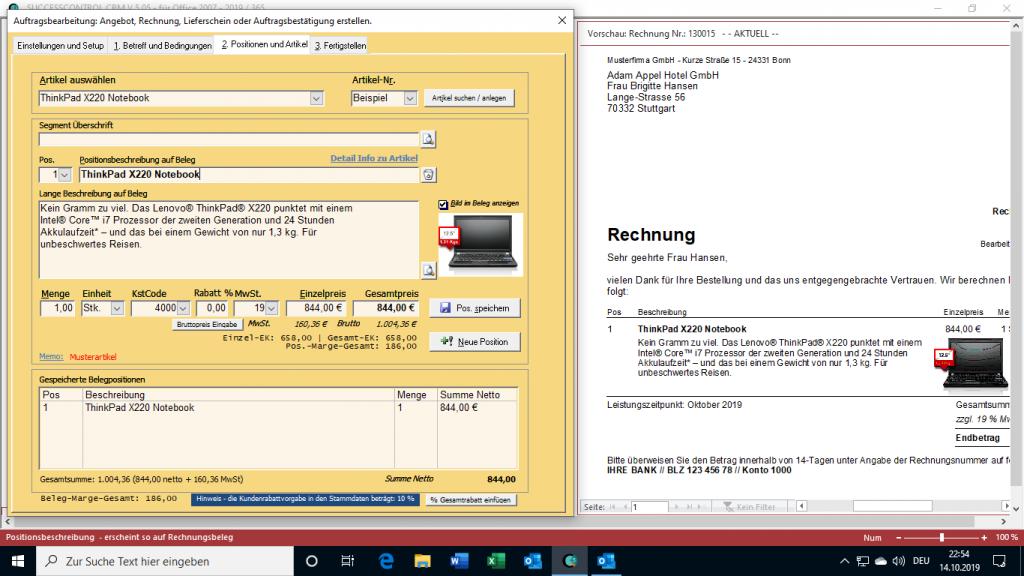 CRM mit Rechnungserstellung - die Software kümmert sich auch um die Rechnungserstellung