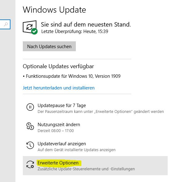 Windows 10 Office Updates aktivieren