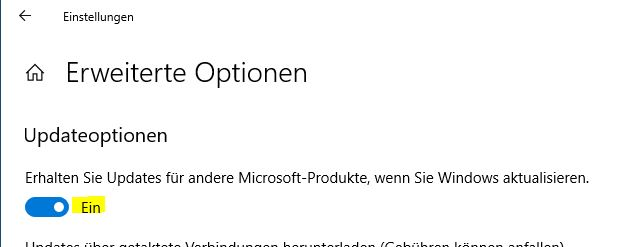 Windows 10 Office Updateoptionen
