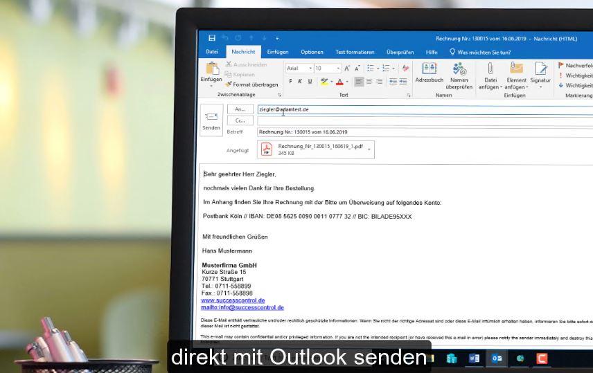 Rechnungen direkt mit Outlook als PDF-Anlage versenden