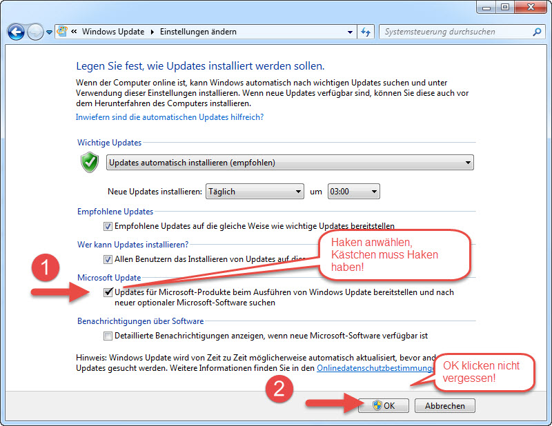 Windows 7 Office Updates aktivieren