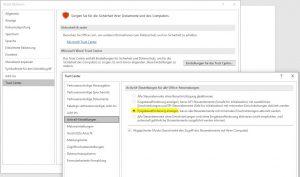 Word Trustcenter korrekt einstellen