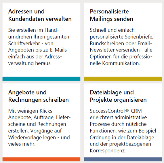 Funktionen der SuccessControl CRM Software