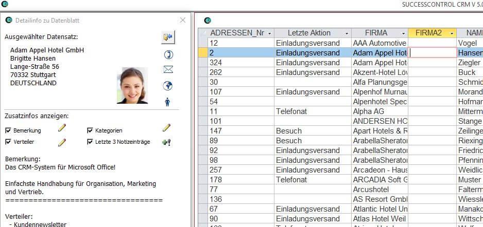 Datenblattansicht von Kundenstammdaten