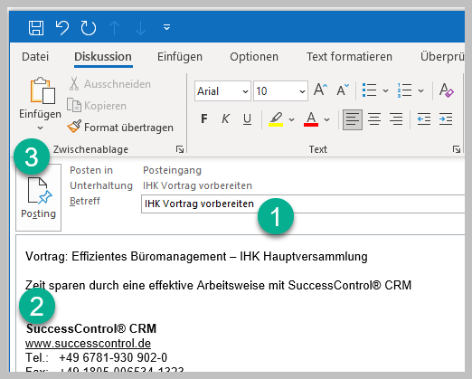 Outlook-Posting-erstellen